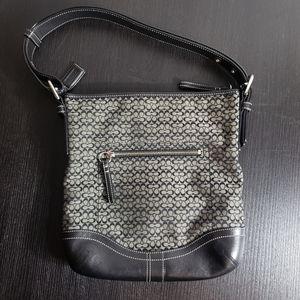Black, Grey Signature C Coach Shoulder Bag